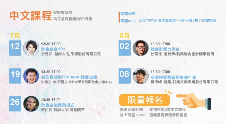 2020尤努斯獎-Yunus Prize-第五屆社會創新與創業競賽-「社會創業家10堂課」暨競賽說明會 中文課程